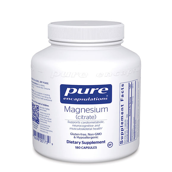Pure Encapsulations, Magnesium Citrate 150 Mg, 180 Capsules - 766298001739 | Hilife Vitamins