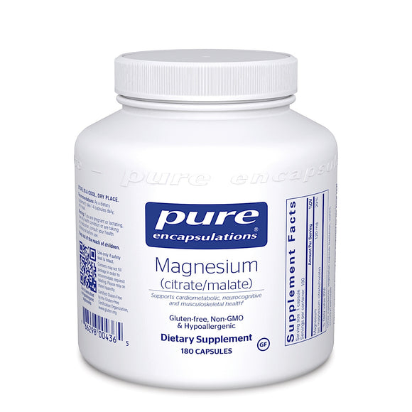 Pure Encapsulations, Magnesium Citrate/Malate 120 mg, 180 Capsules - 766298004365 | Hilife Vitamins