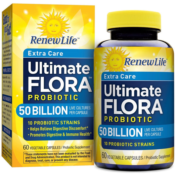 Renew Life, Uf Extra Care 50 Billion, 60 Vegetable Capsules - 631257156587 | Hilife Vitamins