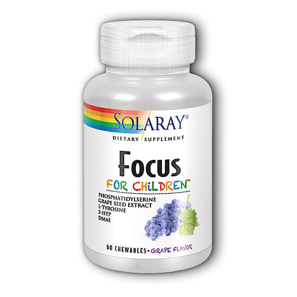 Solaray, Focus For Children Grape, 60 Chewable - 076280083781 | Hilife Vitamins