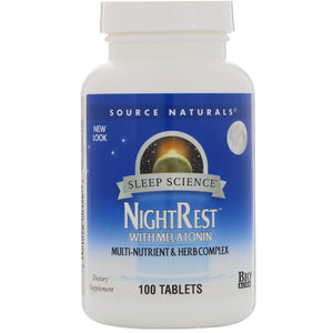 Source Naturals, Sleep Science Nightrest With Melatonin, 100 Tablets - 021078003588 | Hilife Vitamins