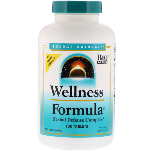 Source Naturals, Wellness Formula, 180 Tablets - 021078008231 | Hilife Vitamins