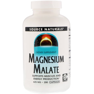 Source Naturals, Magnesium Malate 625 Mg, 200 Vegetable Tablets - 021078016007 | Hilife Vitamins
