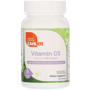 Zahler, Vitamin D3 5000 IU, 120 Softgels - 848998000424 | Hilife Vitamins