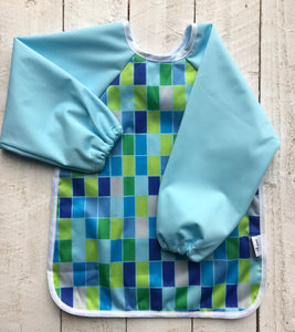 Waterproof long sleeved feeding bib - Blue