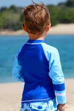 Load image into Gallery viewer, Aqua White Stitch - Baby Boys Long Sleeved Rash Guard