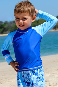 Aqua White Stitch - Baby Boys Long Sleeved Rash Guard