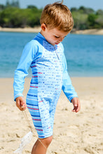 Load image into Gallery viewer, Gone Fishing Print Aqua - Baby Boys Suit Long Sleeve and Short Leg