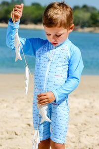 Gone Fishing Print Aqua - Baby Boys Suit Long Sleeve and Short Leg