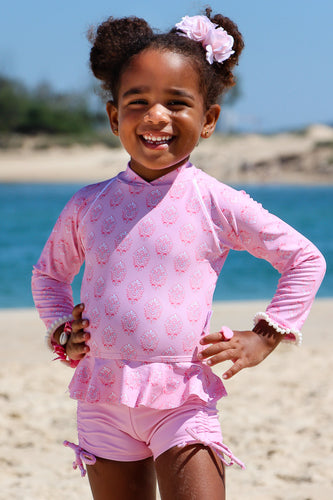Cardamon Print Blush - Baby Girl Rash Guard Long Sleeve and Boyleg Set