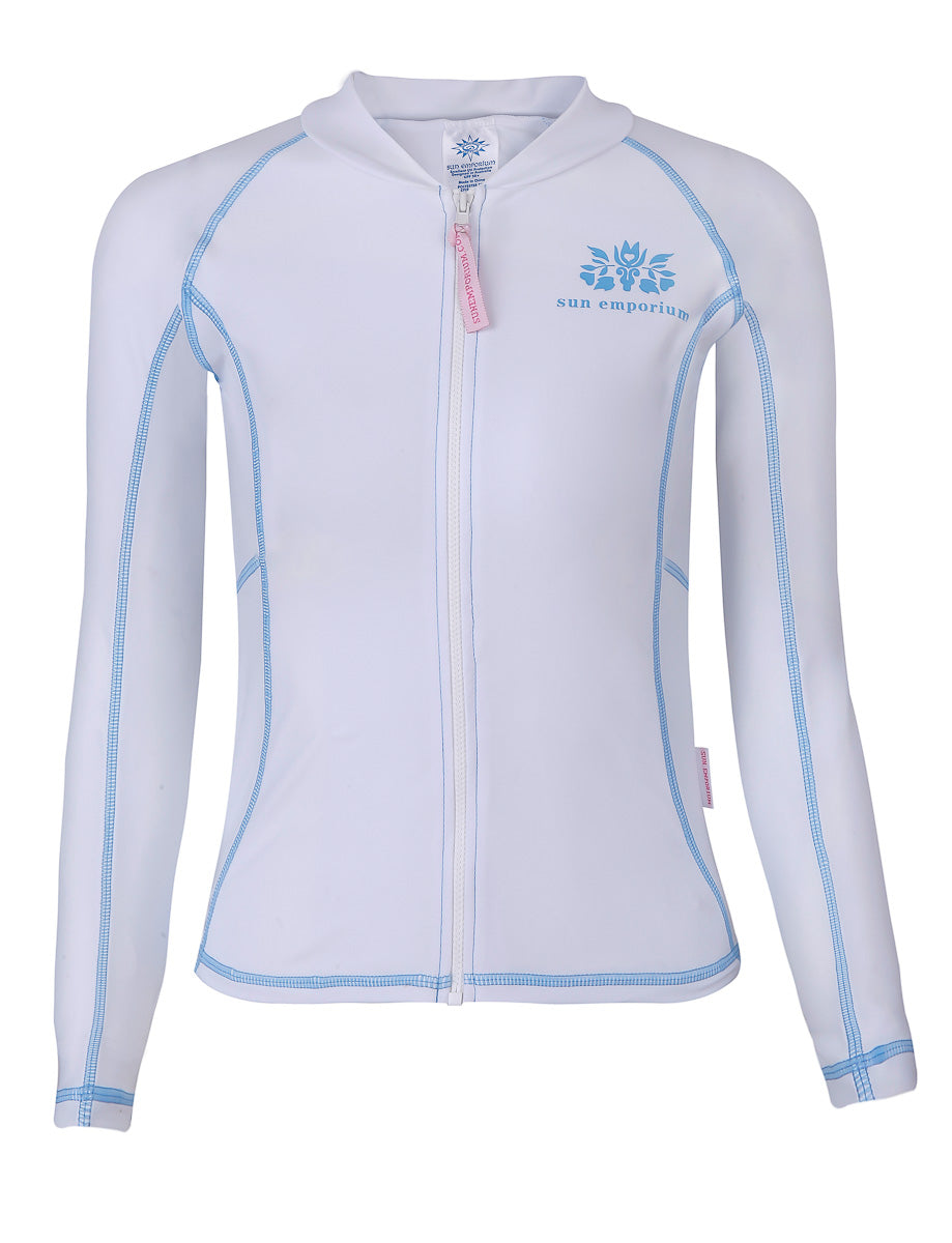 White Aqua Cover Stitch - Girls Zip Jacket Long Sleeve