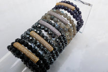 Load image into Gallery viewer, Semi-Precious Triple Wrap with Sparkle Bar Bracelet