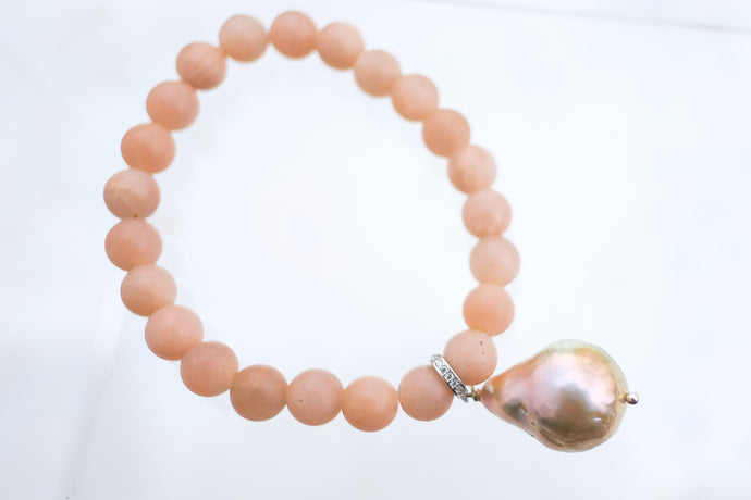 Pink Moonstone and Baroque Pearl Bracelet