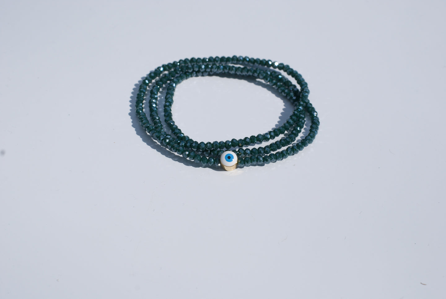Evil Eye Crystal Triple Wrap Bracelet