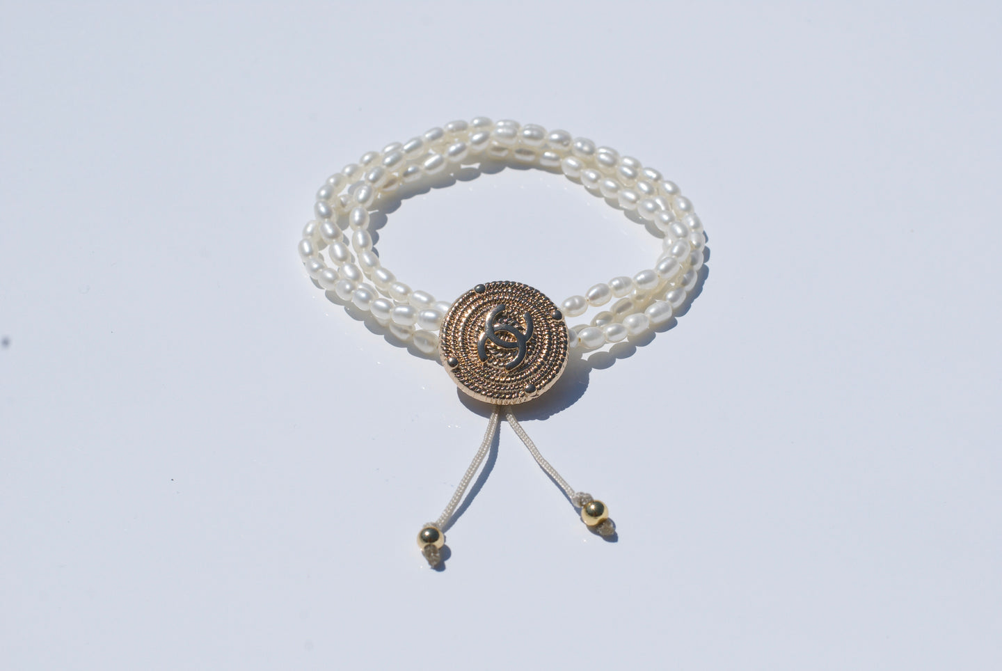 CC Gold Braided Upcycled Button Bracelet with Pearls