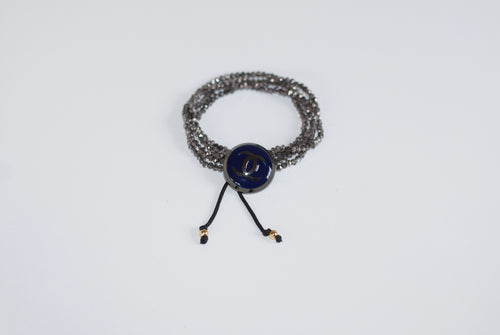 CC Indigo Cap Upcycled Button Bracelet with Crystals