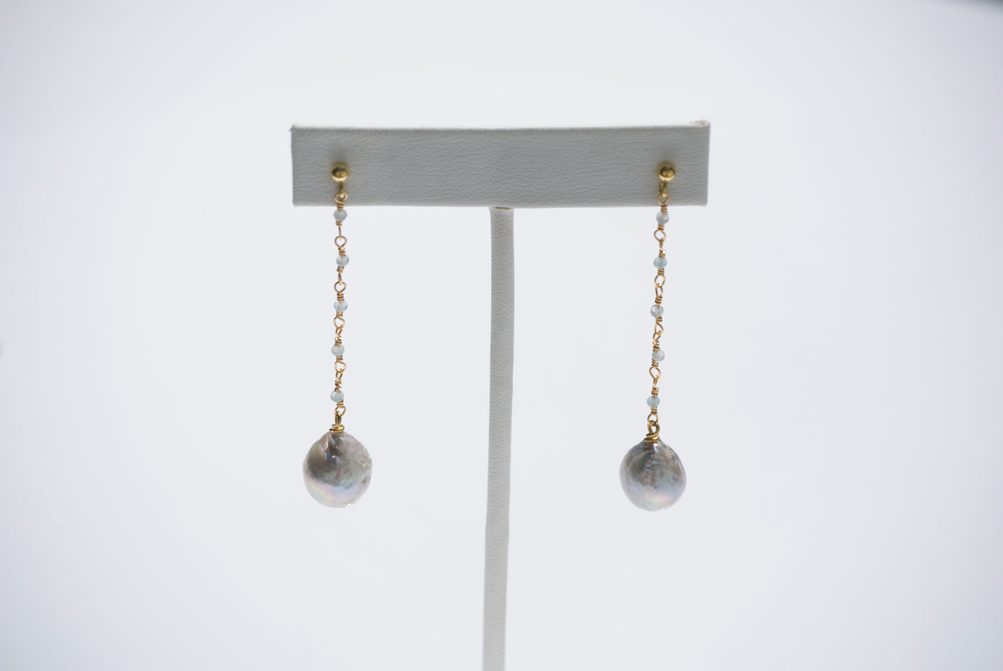 Dangling Pearl Drop and Labradorite Earrings