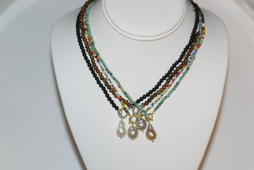 Baroque Pearl Drop Toggle Necklace
