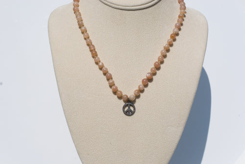 Pink Moonstone Peace Necklace