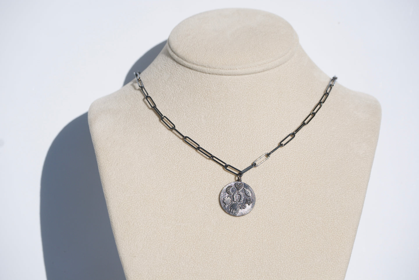 Rhodium and Diamond Lucky Charm Necklace