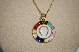 Enamel Horseshoe Charm Necklace