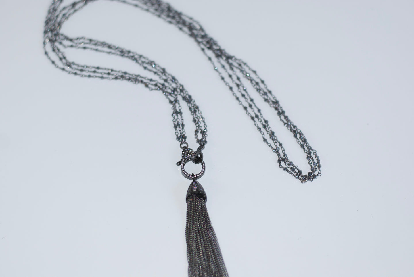 Oxidized Silver Tassel Necklace