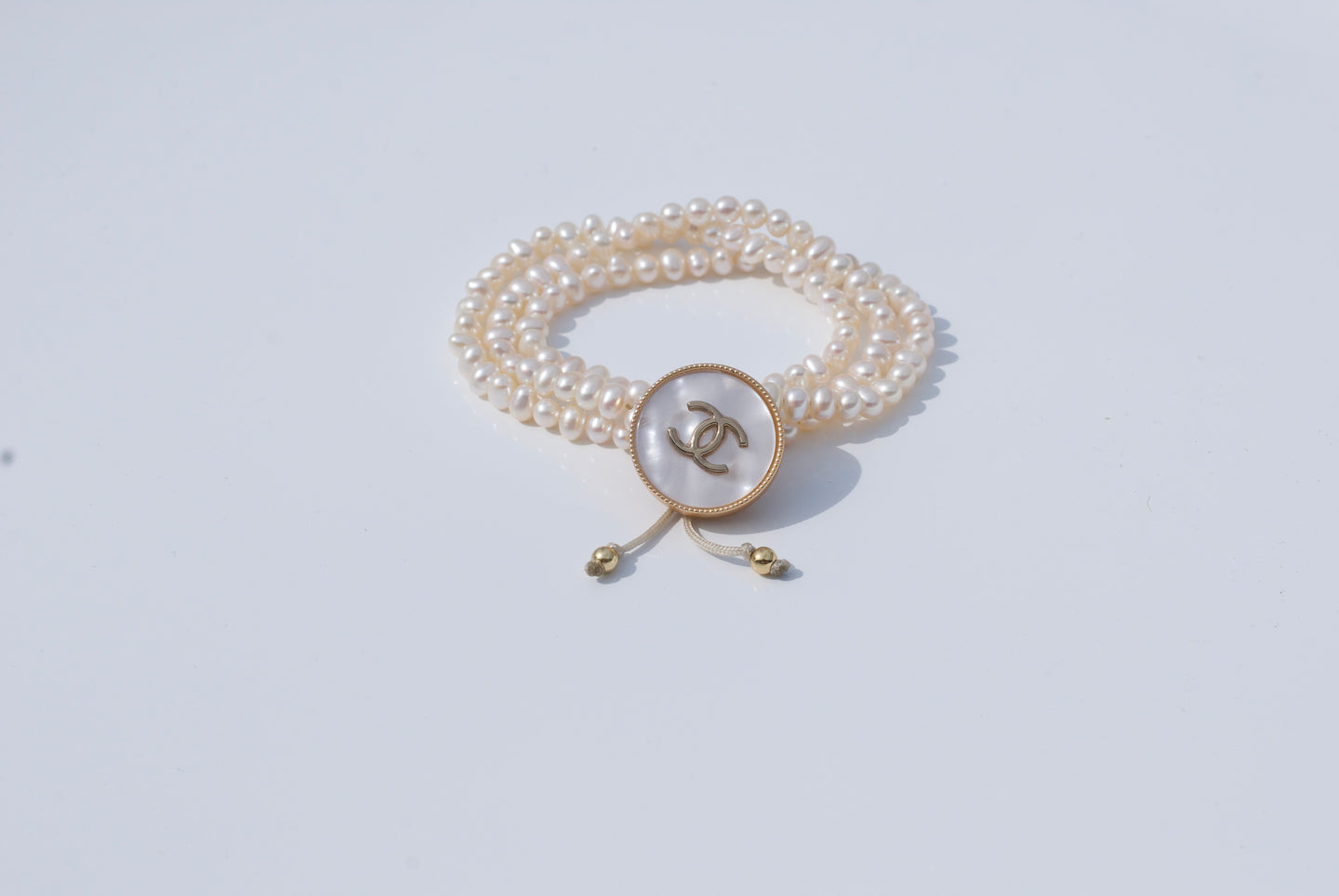 CC Mother of Pearl Upcycled Button Bracelet with Pearls