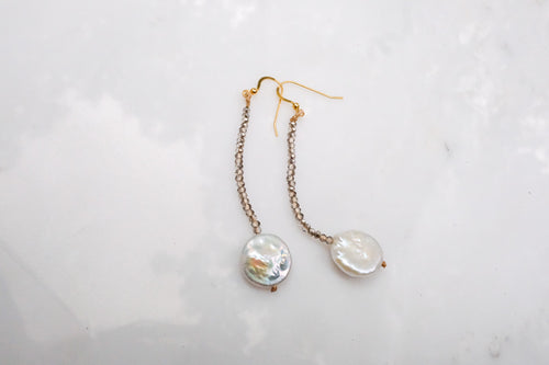 Coin Pearl and Crystal Earrings