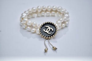 CC Beaded Enamel Circle Upcycled Button Bracelet with Pearls