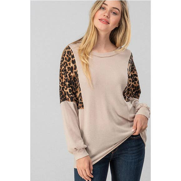 Leopard Color Block Dolman Sleeve Top - Taupe