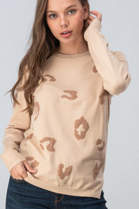 Soft Leopard Print Long Sleeve Top Taupe