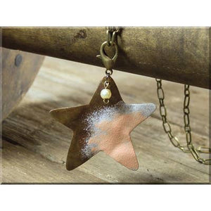 Boho Wide Star Necklace with Claw Clasp