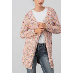Rainbow Confetti Knit Blush Cardigan - Blush