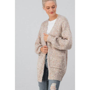 Multi Color Knit Puff Sleeve Long Cardigan - Taupe