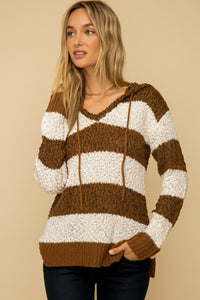 Brown striped Sweater with hood