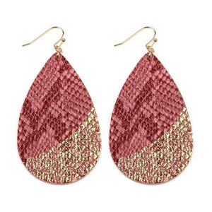 Snakeskin Fish Hook Teardrop Earrings Light Pink