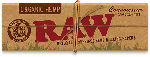 RAW Organic Hemp Connoisseur 1-1/4' Rolling Papers w/Tips
