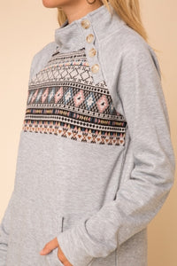 Gray fleece pullover