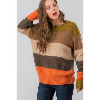 Fuzzy Stripe Color Block Sweater - Brown