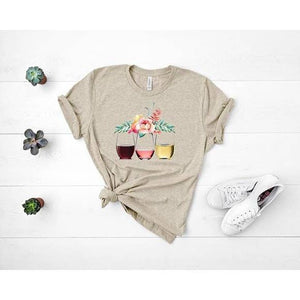 Floral Wine Graphic T-Shirt
