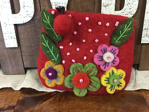 Flower Embroidered Coin Purse W/Zip