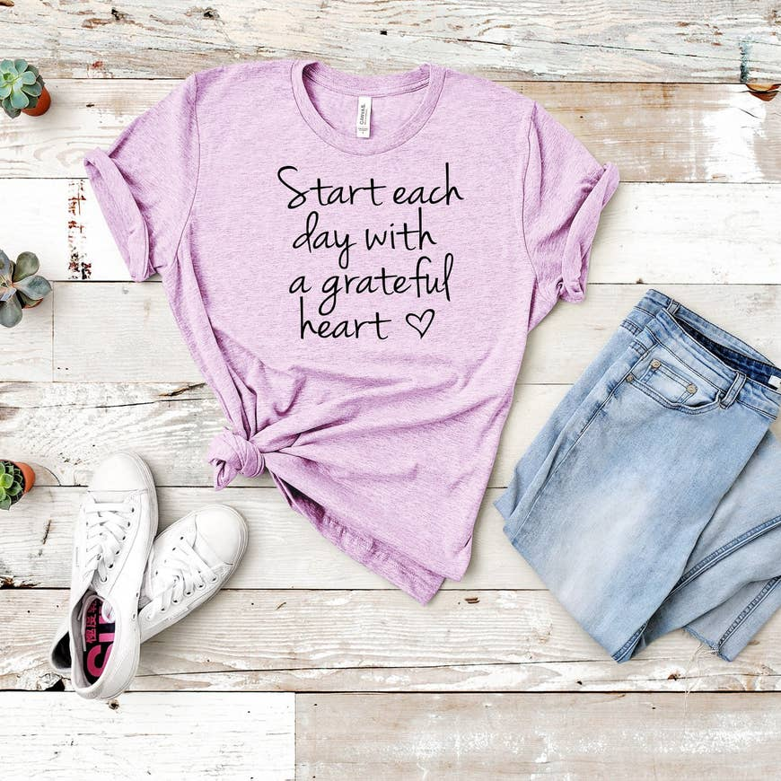 Start Each Day With A Grateful Heart Graphic T-Shirt