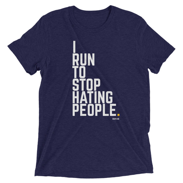 I Run To Stop Hating People - Navy Short sleeve t-shirt