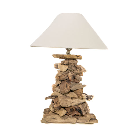 COASTAL DRIFTWOOD TABLE LAMP WITH LINNEN SHADE