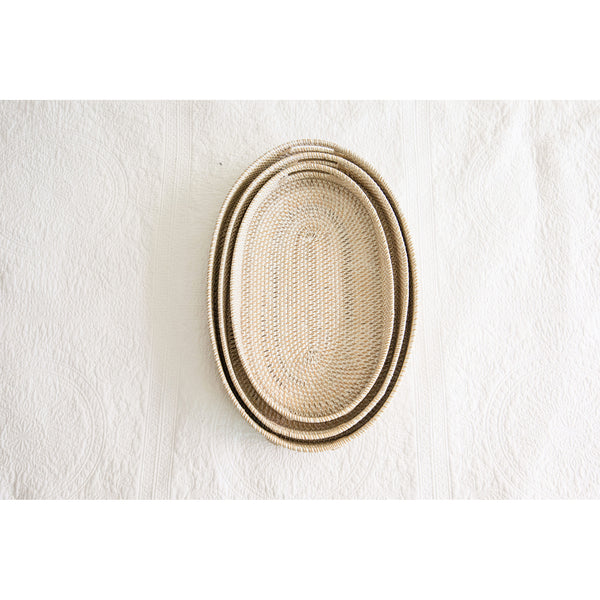 RATTAN TRAYS WHITSUNDAY WHITEWASHED  - 3 SIZES