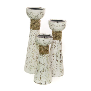 SHABBY CHIC- RUSTIC CANDLESTICK HOLDERS - SET OF 3