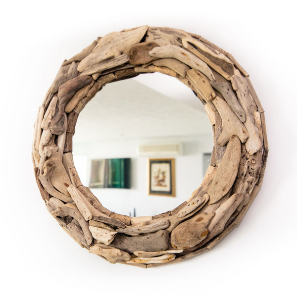 "These are one of my favorite hand made pieces.  Nothing says ""Coastal Home"" or ""Beach House"" like these stunning driftwood mirrors.  The last shipment sold out so fast and this time I have doubled my stock and added the absolutely stunning whitewashed driftwood mirror.  The whitewashed driftwood is simply stunning."