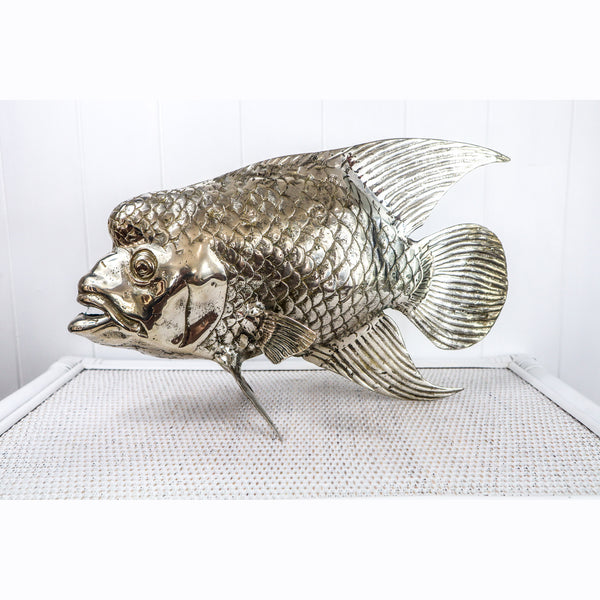 TROPICAL BALI BRASS GROPER FISH TABLE ART  IN BRASS OR SILVER -