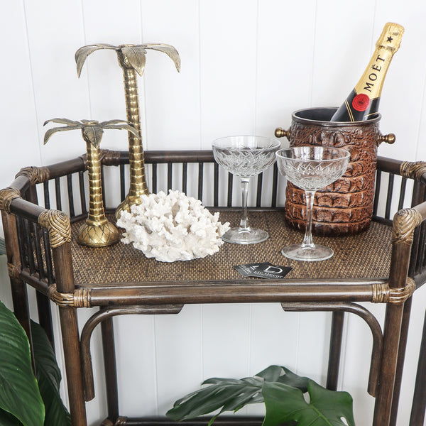 Look how superb the  wine holder looks on a gorgeous drinks trolley with a bottle of champagne chillilng.