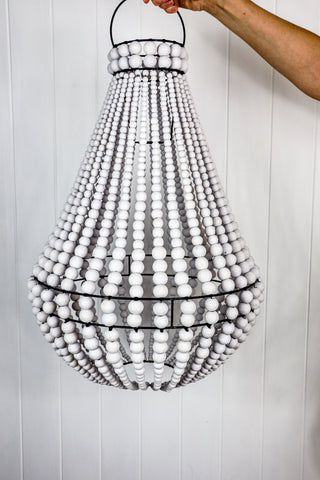 BOHO BEADED CHANDELIER -  WHITE